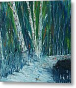 Stopping By Woods On A Snowy Evening Metal Print