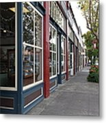 Storefronts In Historic Railroad Square Area Santa Rosa California 5d25856 Metal Print by Wingsdomain Art and Photography