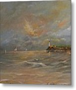 Storm At The Shore Metal Print