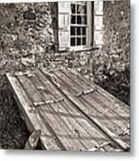 Storm Cellar And Window Metal Print by Mark Miller