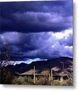 Storm Clouds In The Desert Metal Print