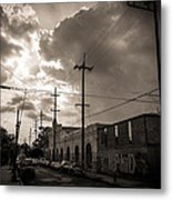 Storm Clouds Over Chartres Street In New Orleans.  Metal Print