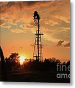 Storm Cloud's With Windmill Sillhouette Metal Print
