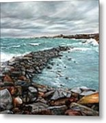 Storm In Rockport Harbor Metal Print