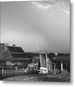 Storm On The Farm In Black And White Metal Print