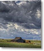 Storm Over Barn Metal Print