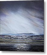 Storm Over Druridge Bay Northumberland 1 Metal Print by Mike   Bell