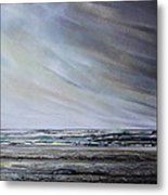 Storm Over Hauxley Haven Northumberland 1 Metal Print by Mike   Bell