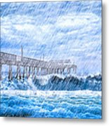 Storm Over The Sea - Tybee Pier Metal Print