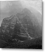 1m3556-bw-storm Raging Over Mt. Temple Metal Print