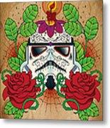 Storm Trooper Sugar Skull Metal Print
