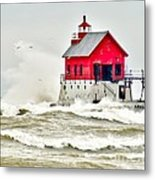 Stormy At Grand Haven Light Metal Print
