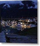 Stormy Boat Harbor Metal Print