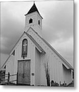Stormy Church In Black And White Metal Print