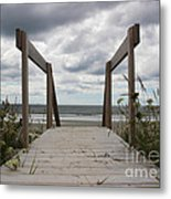 Stormy Day - Boardwalk To The Sea Metal Print