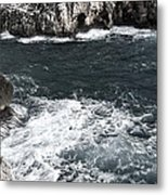 Mediterranean Sea And Rocks Sculpted By Wind And Salt In South Of Menorca Metal Print