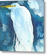 Stormy Egret Metal Print