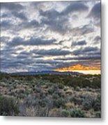 Stormy Santa Fe Mountains Sunrise - Santa Fe New Mexico Metal Print