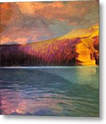 Stormy Skies Over Emerald Lake Metal Print