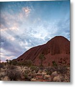 Stormy Sky Over Uluru Metal Print