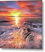 Stormy Sunset At Water's Edge Metal Print