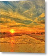 Stormy Sunset Over Santa Ana River Metal Print