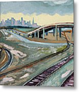 Stormy Train Tracks And San Francisco  Metal Print