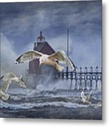 Stormy Weather At The Grand Haven Lighthouse Metal Print
