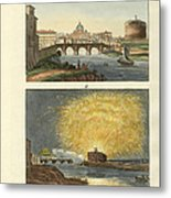 Strange Buildings In Rome Metal Print by Splendid Art Prints