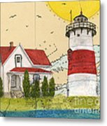 Stratford Pt Lighthouse Ct Nautical Chart Map Art Metal Print
