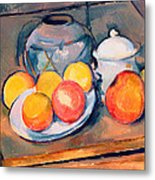 Straw Covered Vase Sugar Bowl And Apples Metal Print