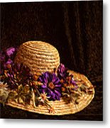 Straw Hat And Flowers Metal Print