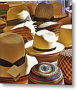 Straw Hats Metal Print
