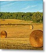 Straw Wheels - North Pickering Metal Print by Allan OMarra