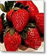 Strawberries Expressive Brushstrokes Metal Print