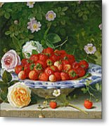 Strawberries In A Blue And White Buckelteller With Roses And Sweet Briar On A Ledge Metal Print