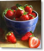 Strawberries on Yellow and Blue Metal Print