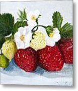 Strawberries With Blossoms Metal Print