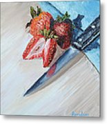 Strawberries With Knife Metal Print