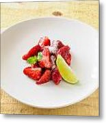 Strawberries With Lime And Mint Metal Print