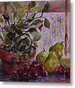 Strawberry Afternoon W/ Pears Metal Print