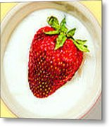 Strawberry And Cream Metal Print