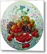 Strawberry And Grapes Metal Print