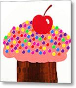 Strawberry Cupcake Metal Print by Andee Design