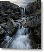 Stream Flows Over A Waterfall Metal Print