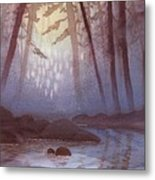 Stream In Mist Metal Print