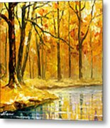 Stream In The Forest - Palette Knife Oil Painting On Canvas By Leonid Afremov Metal Print