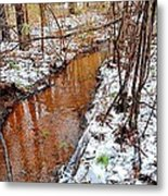 Stream In The Winter Forest Metal Print