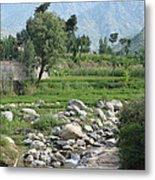 Stream Trees House And Mountains Swat Valley Pakistan Metal Print