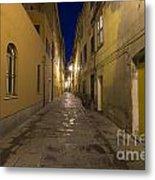 Street Alley By Night Metal Print